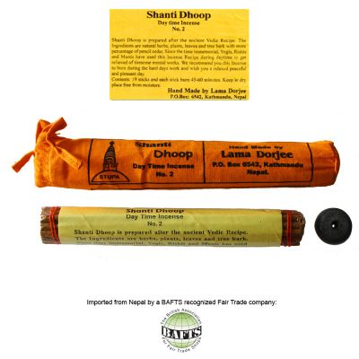 Incenso Orgânico Tibetano -FairTrade: SHANTI DHOOP DAYTIME